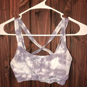 White and gray sports bra